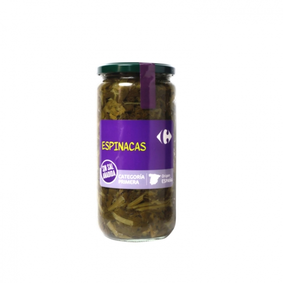 Espinacas sin sal añadida Carrefour 425 g.