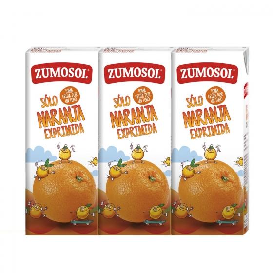 Zumo de naranja Zumosol pack de 3 briks de 20 cl.