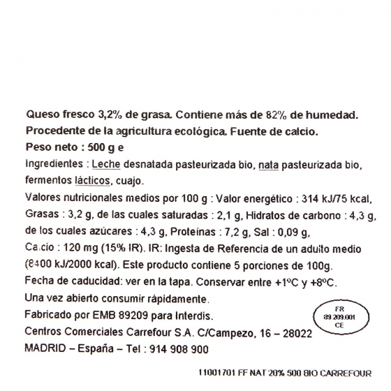 Queso fresco natural ecológico Carrefour 500 g. - 4