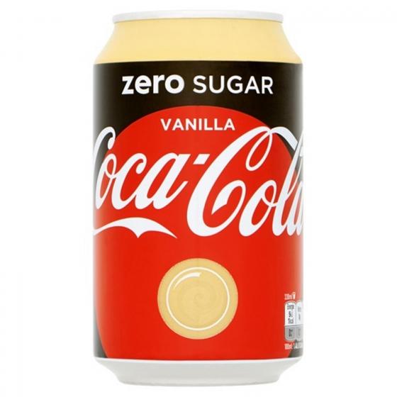 Refresco de cola Coca Cola zero sabor vanilla lata 33 cl.