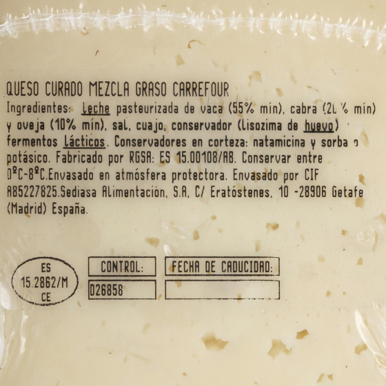 Queso mezcla curado Carrefour cuña 1/8 375 g aprox - 1
