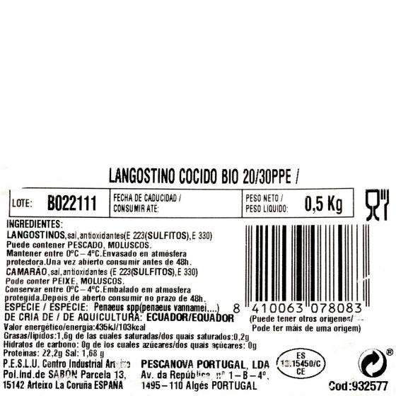 Langostino cocido ecológico Vannamei Pescanova 400 g - 1
