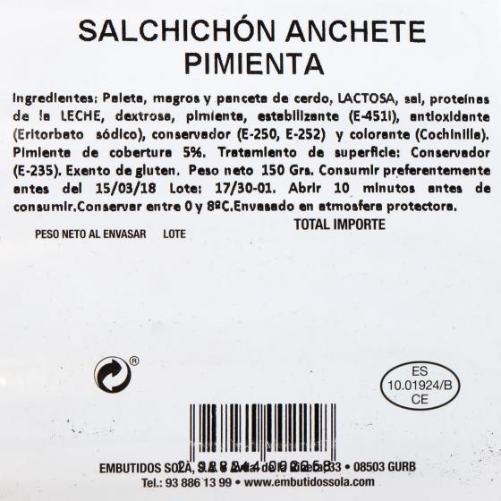 Salchichón extra a la pimienta loncheado Anchete Solá 150 g - 1