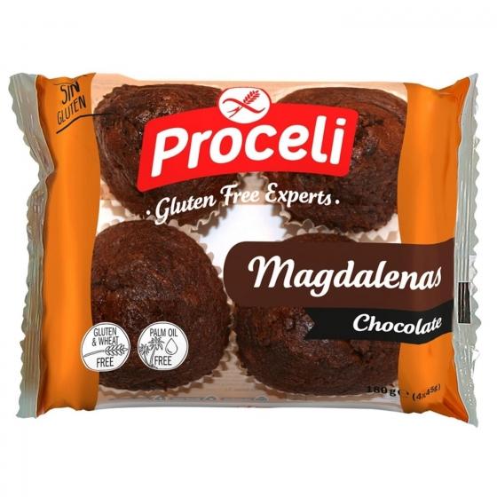 Magdalenas de chocolate Proceli sin gluten 180 g.