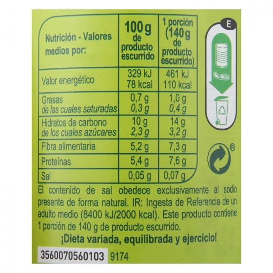 Guisantes muy finos contenido bajo de sal Carrefour pack de 3 unidades de 140 g. - 1