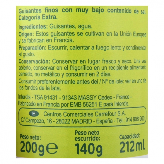Guisantes muy finos contenido bajo de sal Carrefour pack de 3 unidades de 140 g. - 3