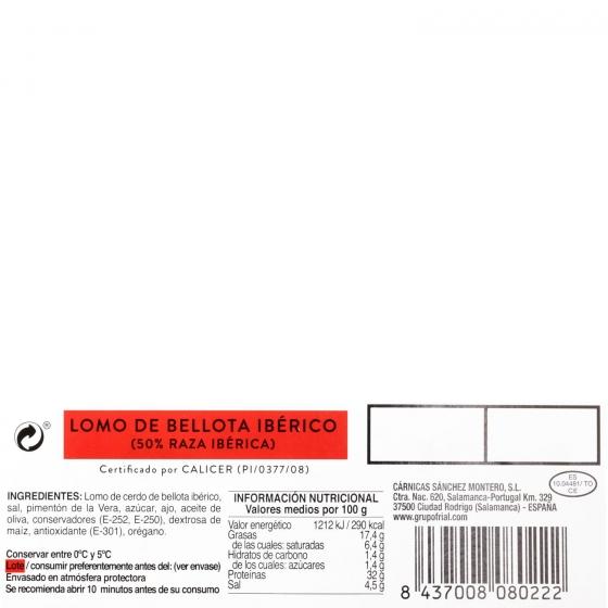 Lomo de bellota ibérico 50% raza ibérica loncheado Sánchez Montero envase 100 g - 3