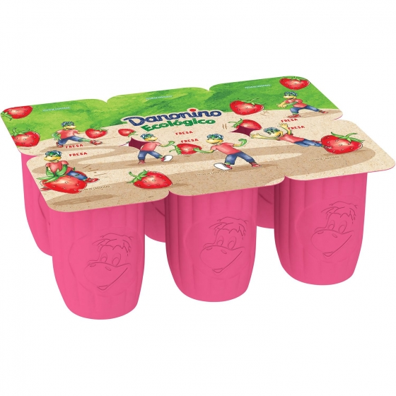 Petit de fresa ecológico Danone Danonino pack de 6 unidades de 50 g. - 1