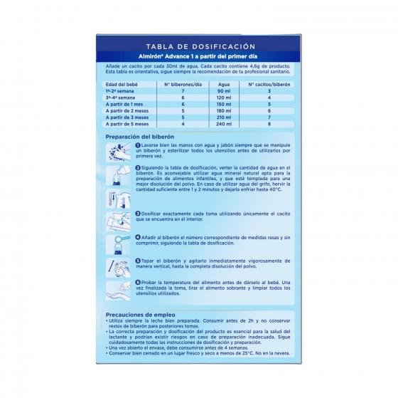 Leche infantil para lactantes desde el primer día en polvo Almirón Advance con Pronutra 1 lata 1200 g. - 4