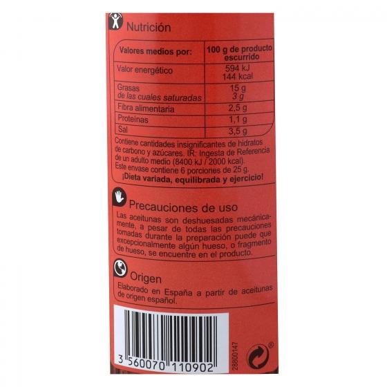 Aceitunas verdes rellenas con pimientos Carrefour 150 g. - 1
