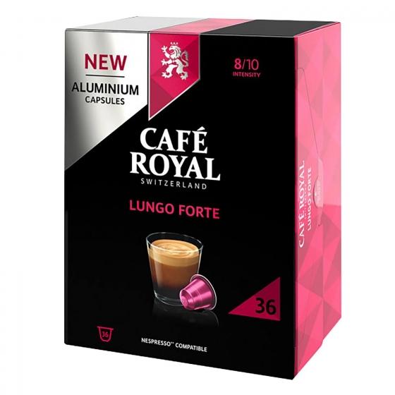 Café lungo forte en cápsulas de aluminio Royal compatible con Nespresso 36 ud.