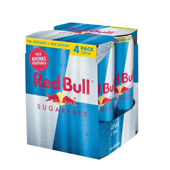 Bebida energética Red Bull sin azúcar pack de 4 latas de 25 cl.