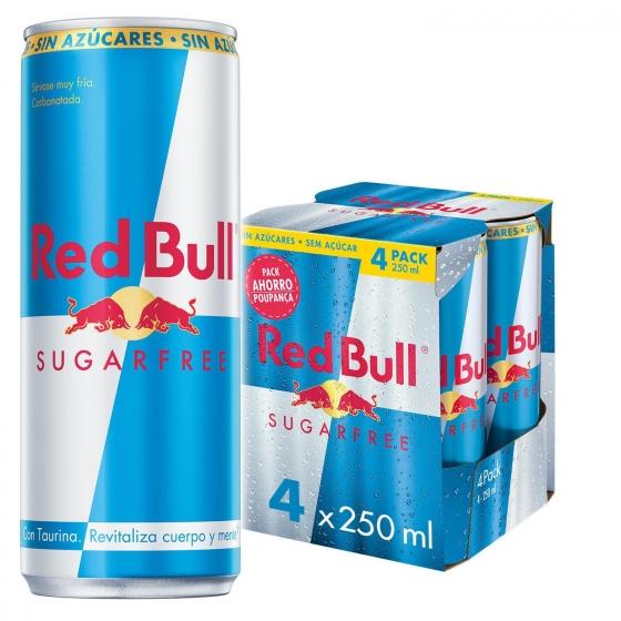 Bebida energética Red Bull sin azúcar pack de 4 latas de 25 cl. - 1