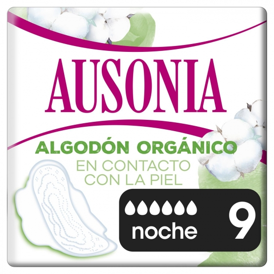 Compresas de noche ultra con alas Cotton protection Ausonia 9 ud.