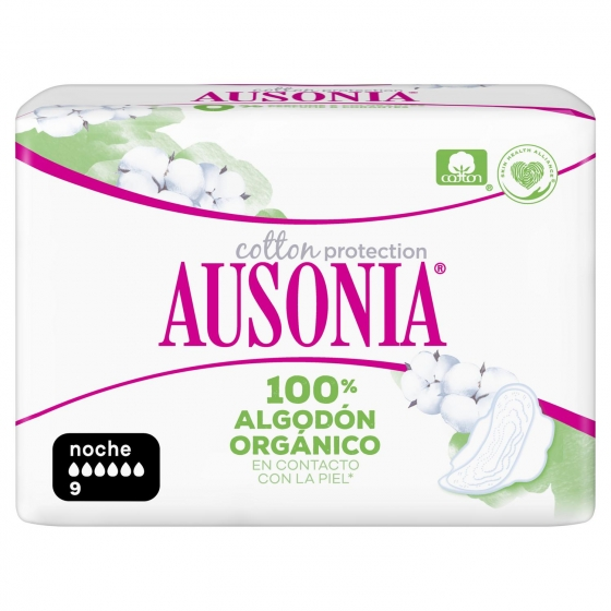 Compresas de noche ultra con alas Cotton protection Ausonia 9 ud. - 1