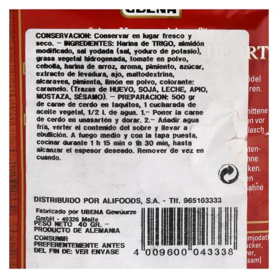 Salsa goulasch Ubena sobre 40 g. - 1