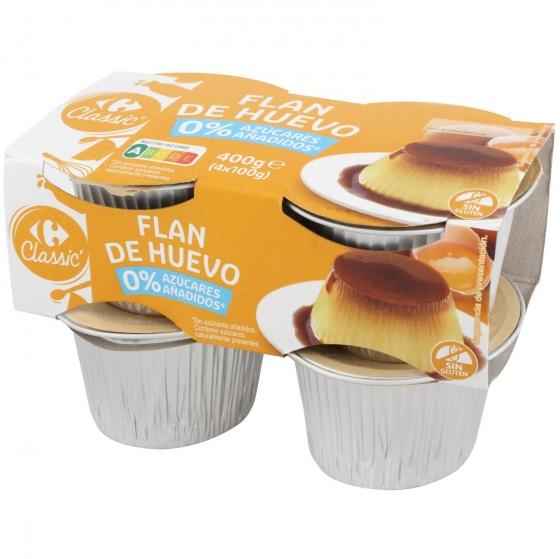 Flan de huevo sin azúcar añadido Carrefour pack de 4 unidades de 100 g.