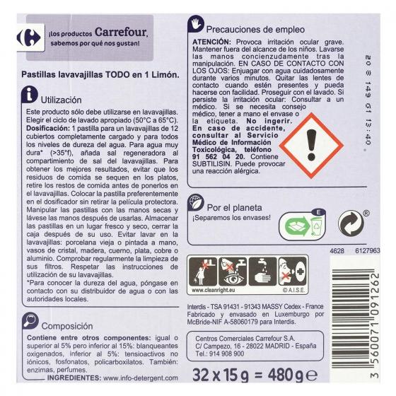Lavavajillas máquina aroma limón Todo en 1 en pastillas Carrefour 32 ud. - 4