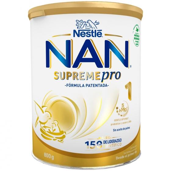 Leche infantil para lactantes desde el primer día en polvo Nestlé Nan Supreme 1 sin aceite de palma lata 800 g.