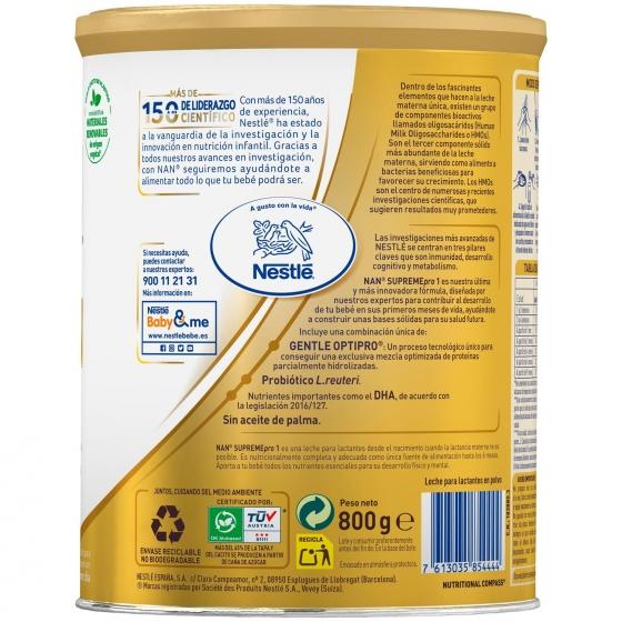 Leche infantil para lactantes desde el primer día en polvo Nestlé Nan Supreme 1 sin aceite de palma lata 800 g. - 1