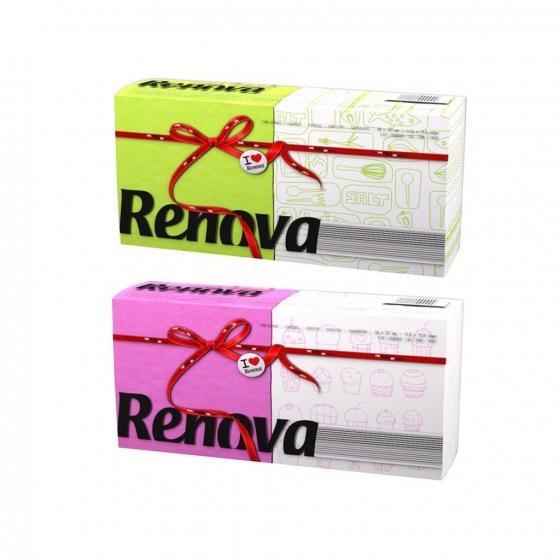 Set de  Servilletas  1 capa de Celulosa RENOVA Red Label 140pz - Color y Decoradas