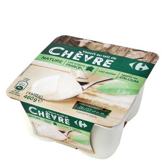 Yogur natural de leche de cabra Carrefour pack de 4 unidades de 115 g.