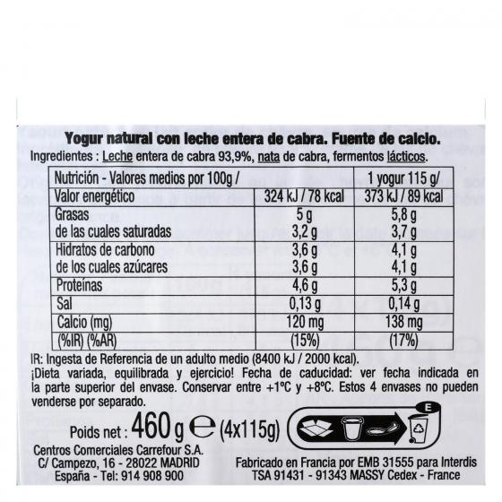 Yogur natural de leche de cabra Carrefour pack de 4 unidades de 115 g. - 1