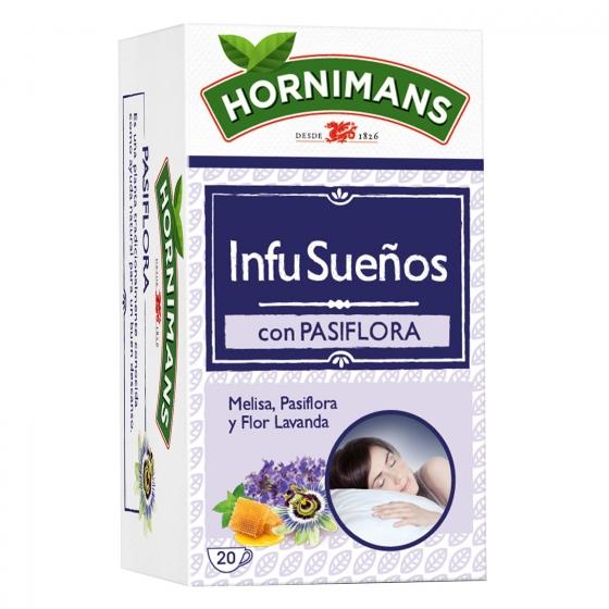 Infusión Infusueños con pasiflora, lavanda y miel en bolsitas Hornimans 20 ud.
