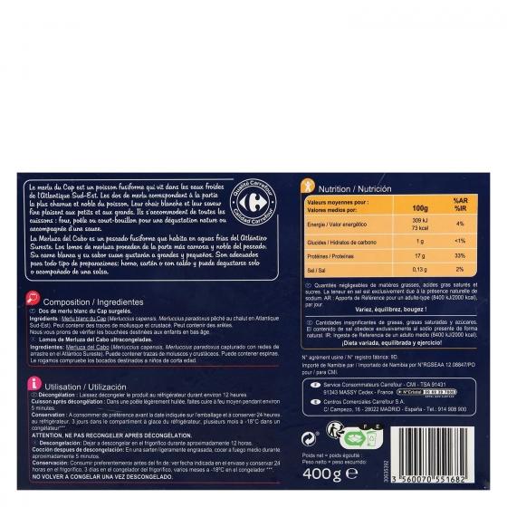 Lomos merluza con piel Carrefour 400 g. - 1