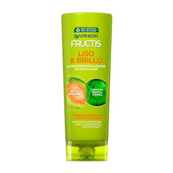Acondicionador fortificante liso & brillo con aceite de argán para cabello rebelde y dificil de alisar Garnier Fructis 300 ml.