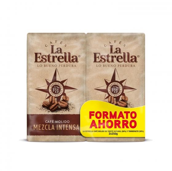 Café molido mezcla express La Estrella pack de 2 unidades de 250 g.