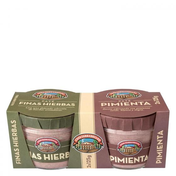 Paté finas hierbas + pimienta Casa Tarradellas pack de 2 unidades de 125 g.