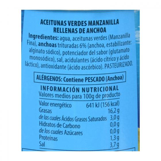 Aceitunas verdes manzanilla rellenas de anchoa Jolca 150 g. - 1