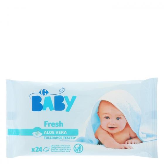 Toallitas húmedas con aloe vera Carrefour Baby 24 ud.