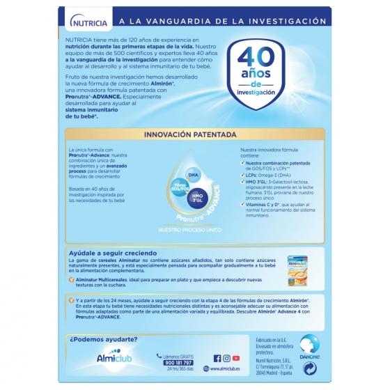 Leche infantil de crecimiento desde 12 meses en polvo con fibras prebióticas Almirón 3 caja 1200 g. - 1