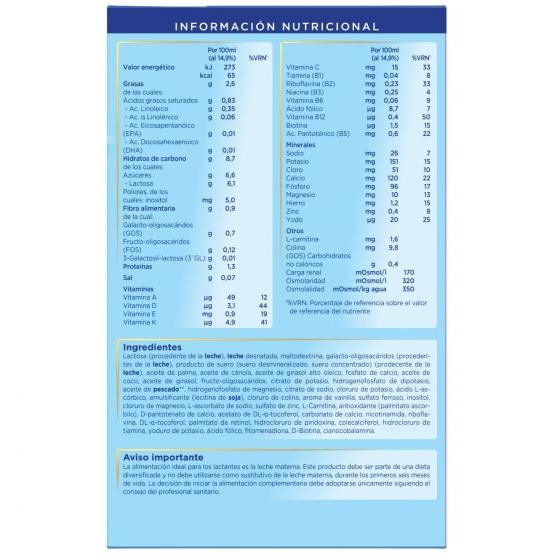 Leche infantil de crecimiento desde 12 meses en polvo con fibras prebióticas Almirón 3 caja 1200 g. - 3