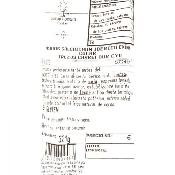 Salchichón ibérico de cebo pieza 1/3 Carrefour Calidad y Origen 400 g aprox - 1