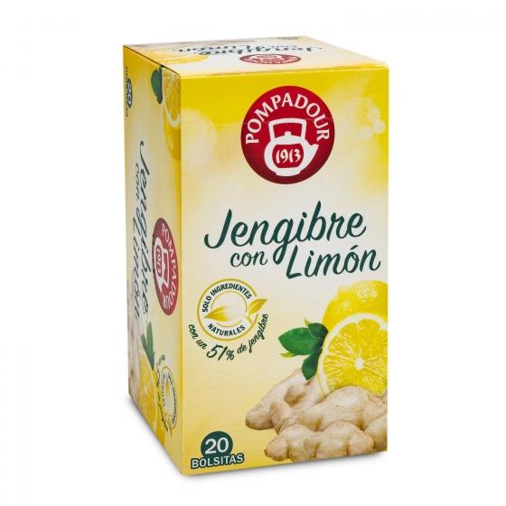 Infusión de jengibre con limón en bolsitas Pompadour 20 ud.