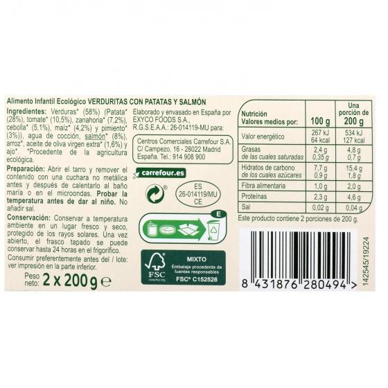 Tarrito de verduritas con papata y salmón desde 8 meses ecológico Carrefour Baby Bio sin gluten pack de 2 unidades de 200 g. - 1