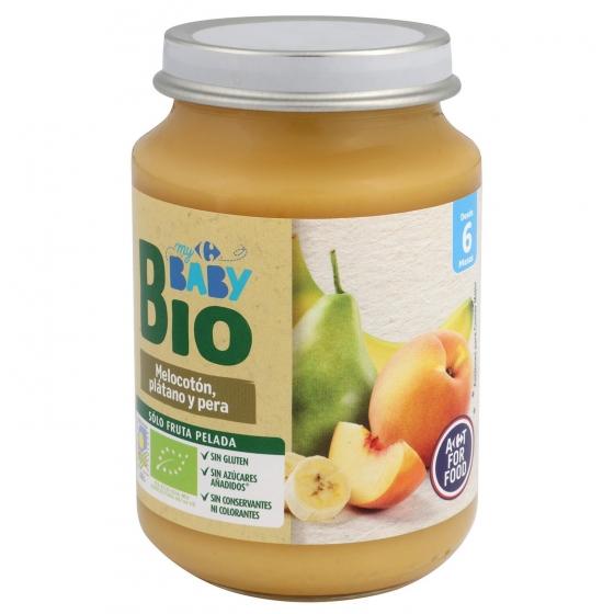 Tarrito de melocotón, plátano y pera ecológico Carrefour Baby Bio 200 g.