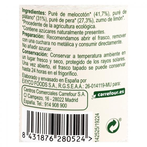 Tarrito de melocotón, plátano y pera ecológico Carrefour Baby Bio 200 g. - 1