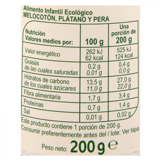 Tarrito de melocotón, plátano y pera ecológico Carrefour Baby Bio 200 g. - 3