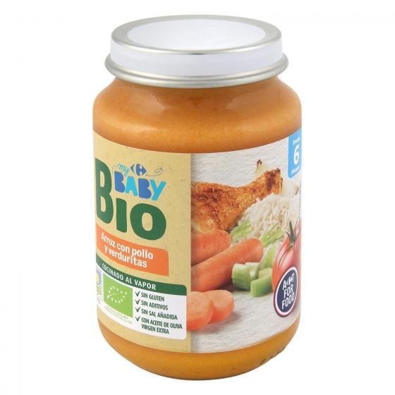 Tarrito de arroz con pollo y verduritas desde 6 meses ecológico Carrefour Baby Bio 200 g