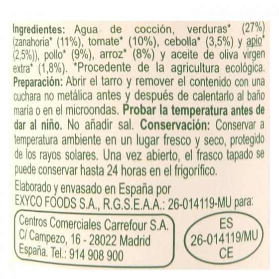 Tarrito de arroz con pollo y verduritas desde 6 meses ecológico Carrefour Baby Bio 200 g - 1
