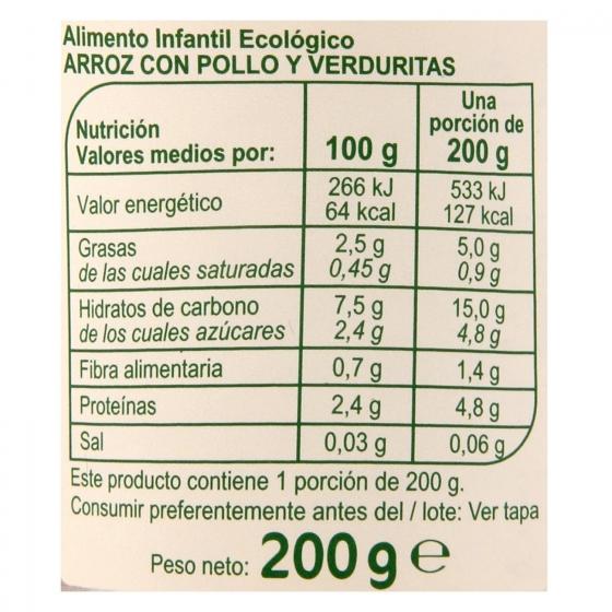 Tarrito de arroz con pollo y verduritas desde 6 meses ecológico Carrefour Baby Bio 200 g - 3