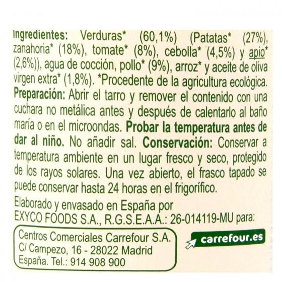 Tarrito de verduritas con pollo desde 6 meses ecológico Carrefour Baby Bio 200 g - 1