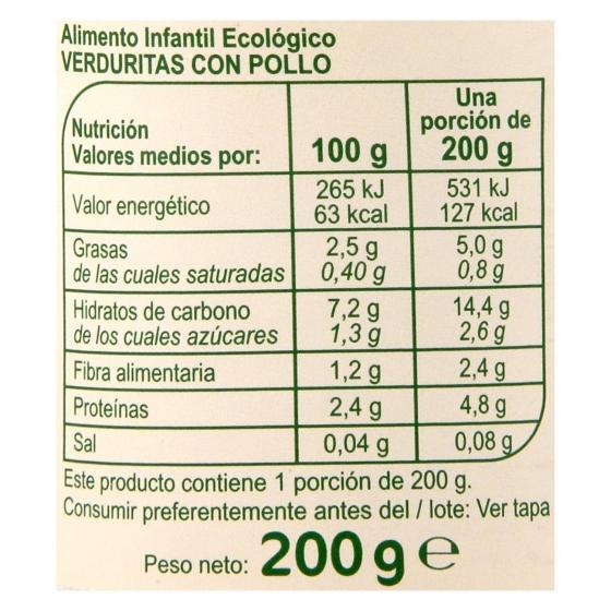 Tarrito de verduritas con pollo desde 6 meses ecológico Carrefour Baby Bio 200 g - 3