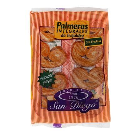 Palmeras integrales de hojaldre sin azúcar San Diego 250 g.