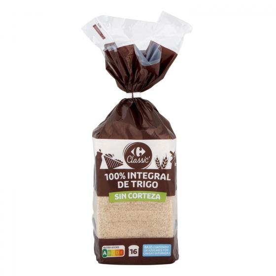 Pan de molde integral sin corteza Carrefour 450 g.