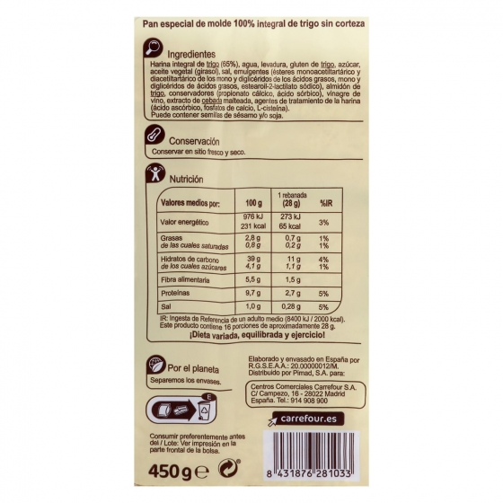 Pan de molde integral sin corteza Carrefour 450 g. - 1